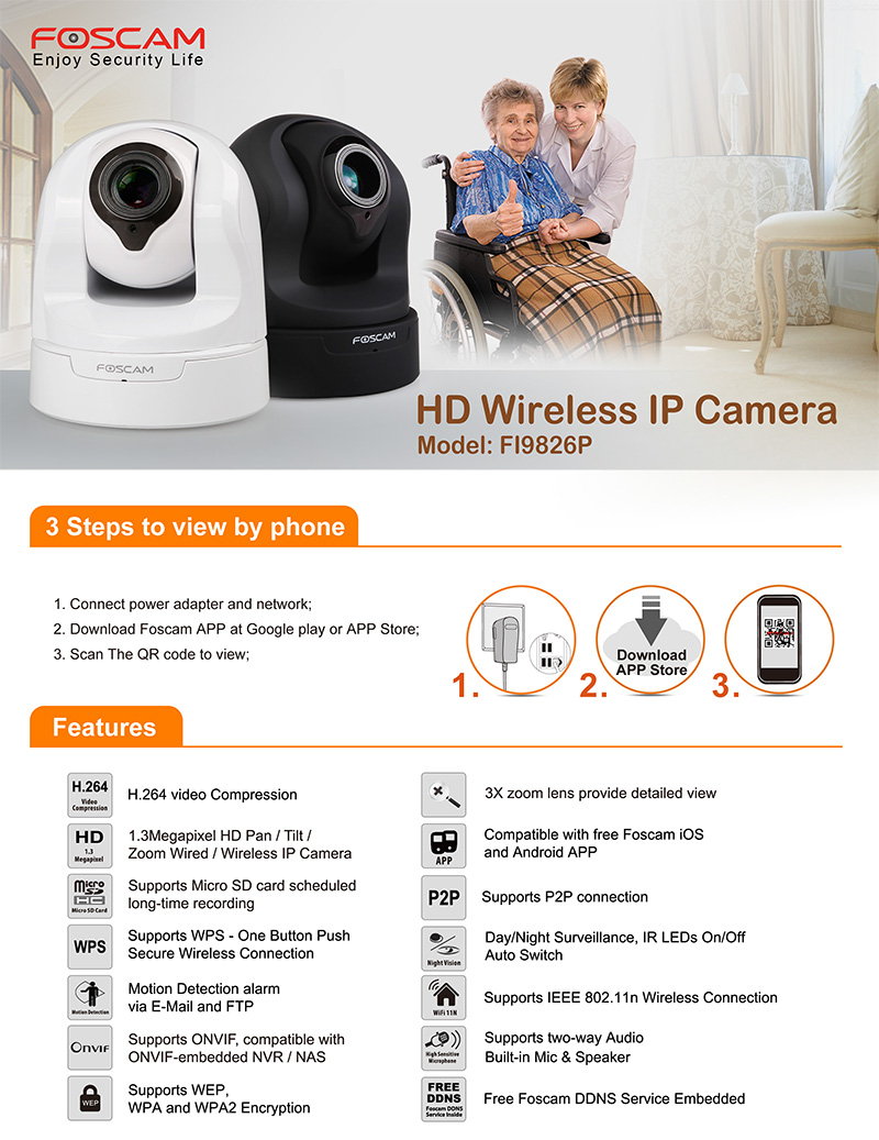 Foscam HD960P FI9826P(B) Indoor Wireless 3X Optical Zoom Night Vision